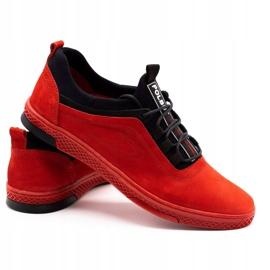 Polbut Men's leather casual shoes K24 red nubuck black 5