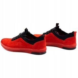 Polbut Men's leather casual shoes K24 red nubuck black 8
