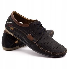 Mario Pala Men's openwork shoes 563 black brown 2