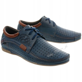 Mario Pala Men's openwork shoes 563 navy blue brown 2