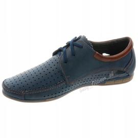 Mario Pala Men's openwork shoes 563 navy blue brown 1