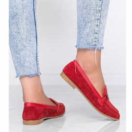 Red Juliette eco suede loafers 2