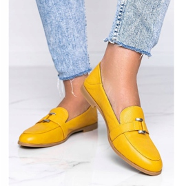 Mustard loafers with an Island Paradise buckle yellow 1