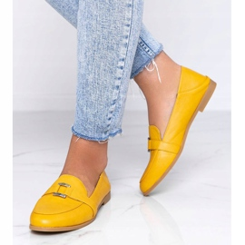 Mustard loafers with an Island Paradise buckle yellow 2