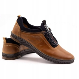 Polbut Men's casual leather shoes K24 camel brown 6