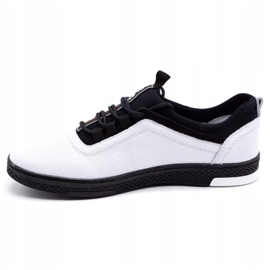 Polbut Men's leather casual shoes K24 white with black underside 1