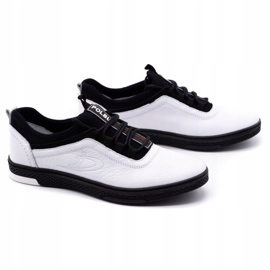 Polbut Men's leather casual shoes K24 white with black underside 2