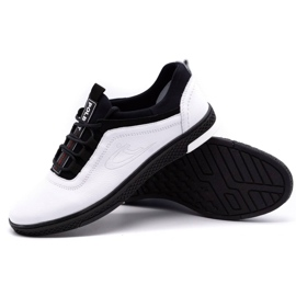 Polbut Men's leather casual shoes K24 white with black underside 3
