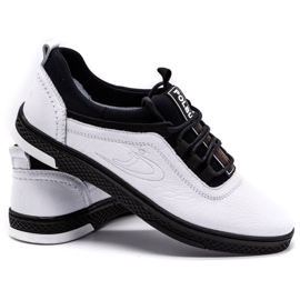 Polbut Men's leather casual shoes K24 white with black underside 4