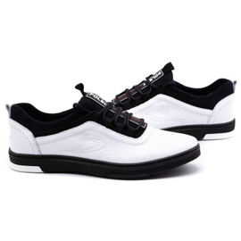 Polbut Men's leather casual shoes K24 white with black underside 5