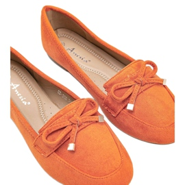 Orange loafers with a bow from Arlene 2