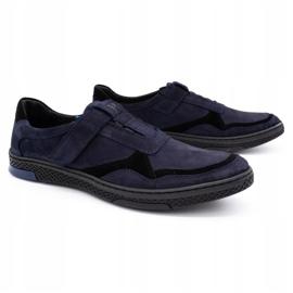 Polbut Men's casual leather shoes 2102 navy blue black 2