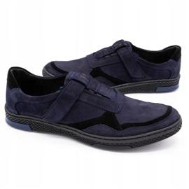 Polbut Men's casual leather shoes 2102 navy blue black 4