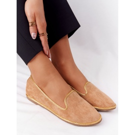 Women's Suede Loafers Lu Boo Camel brown golden 1