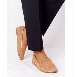 Women's Suede Loafers Lu Boo Camel brown golden 2