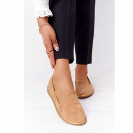 Women's Suede Loafers Lu Boo Camel brown golden 3