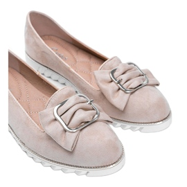 Beige loafers with a Nausura bow 2