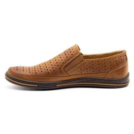Polbut Men's openwork shoes 2107P camel brown 1