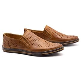 Polbut Men's openwork shoes 2107P camel brown 2
