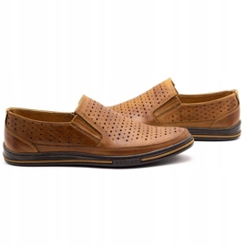 Polbut Men's openwork shoes 2107P camel brown 5