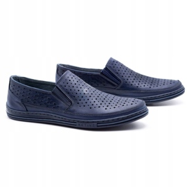 Polbut Men's openwork shoes 2107P navy blue 2