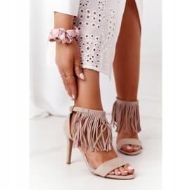 S.Barski Suede Sandals On A High Heel With Fringes Beige Boho Swing 2