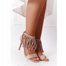 S.Barski Suede Sandals On A High Heel With Fringes Beige Boho Swing 1