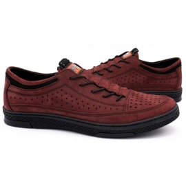 Polbut Men's leather shoes K22P claret red 5