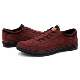 Polbut Men's leather shoes K22P claret red 6