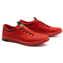 Polbut Men's leather shoes K22P red 2