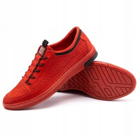 Polbut Men's leather shoes K22P red 3