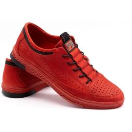 Polbut Men's leather shoes K22P red 4
