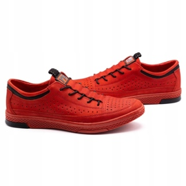 Polbut Men's leather shoes K22P red 5