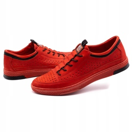 Polbut Men's leather shoes K22P red 6