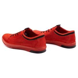 Polbut Men's leather shoes K22P red 7