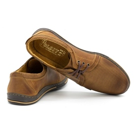 Polbut Leather shoes for men 343 camel perforation brown 6