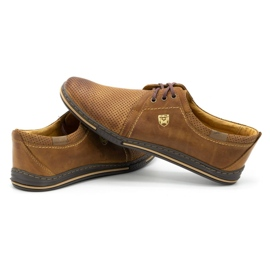 Polbut Leather shoes for men 343 camel perforation brown 7
