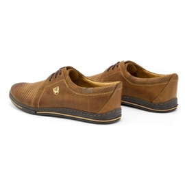 Polbut Leather shoes for men 343 camel perforation brown 8