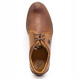 Polbut Leather shoes for men 343 camel perforation brown 10
