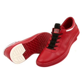 Polbut Men's leather casual shoes K23 red white black 3