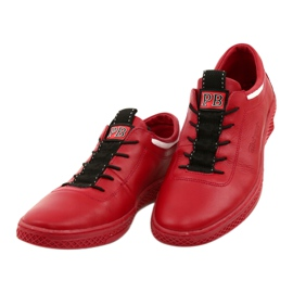 Polbut Men's leather casual shoes K23 red white black 2