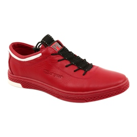 Polbut Men's leather casual shoes K23 red white black 1