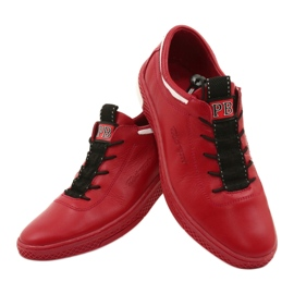 Polbut Men's leather casual shoes K23 red 11