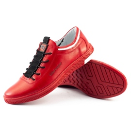 Polbut Men's leather casual shoes K23 red 8