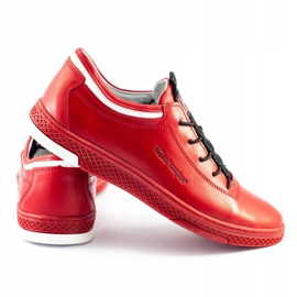 Polbut Men's leather casual shoes K23 red 1