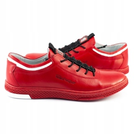 Polbut Men's leather casual shoes K23 red 2