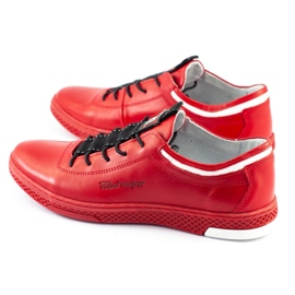 Polbut Men's leather casual shoes K23 red 4