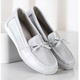 Goodin Leather Shoes With Bow silver grey 3