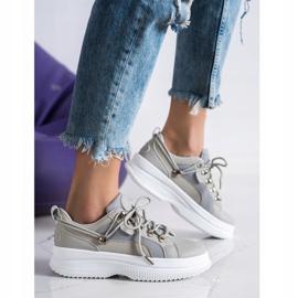 SHELOVET Gray Sneakers On The Platform beige grey 3