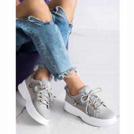 SHELOVET Gray Sneakers On The Platform beige grey 2